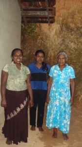 Nishamini (centre) with her mother and grandmother